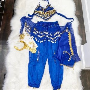 New belly dancing blue and gold color set